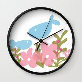 Happy fish in their garden Wall Clock