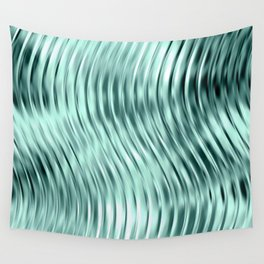 Modern Abstract Shiny Waves Glass Optical Illusion,Reflective Light, Ocean Teal Wall Tapestry