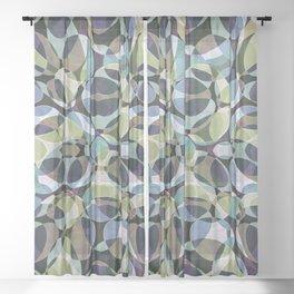 Blue Green Layered Ovals Sheer Curtain