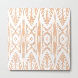 Velvety Tribal Shield in Peach Metal Print