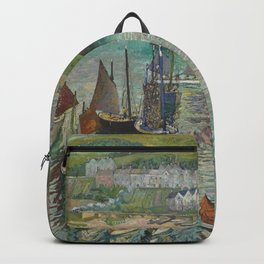 Midday in the Blue Harbor nautical landscape painting by Hayley Lever Backpack