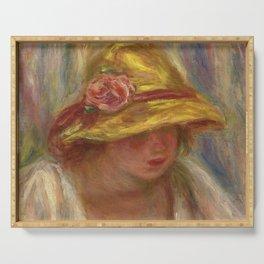 """Auguste Renoir """"Etude de femme au chapeau jaune"""" Serving Tray"""