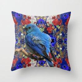 SPRING BLUE BIRD IN GERANIUM GARDEN Throw Pillow