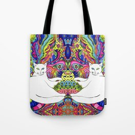Psychedelic White Cat Tote Bag