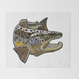 Killer Brown trout Throw Blanket