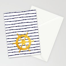 Marine pattern- Navy blue white striped with golden wheel Stationery Cards