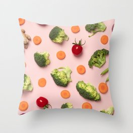 Colorful pattern of tomatoes, broccoli, carrots, ginger and onion Throw Pillow