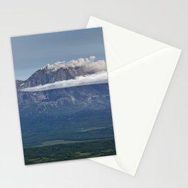 Summer mountain landscape, scenery erupting volcano on Kamchatka Peninsula Stationery Cards