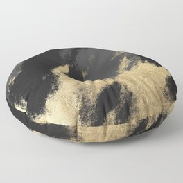 Modern chic gold black gray abstract watercolor Floor Pillow
