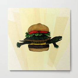 Turtle Sandwich Metal Print