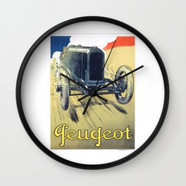 1900 Peugeot Automobile Advertising Poster Wall Clock