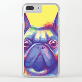 FRENCH BULLDOG COLORFUL WATERCOLOR ILLUSTRATION Clear iPhone Case