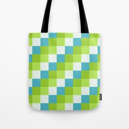 Apples and Pears - Pixelated Pattern with blues and green  Tote Bag