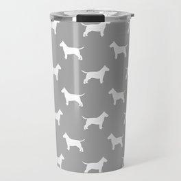 White Bull Terrier Silhouette Travel Mug