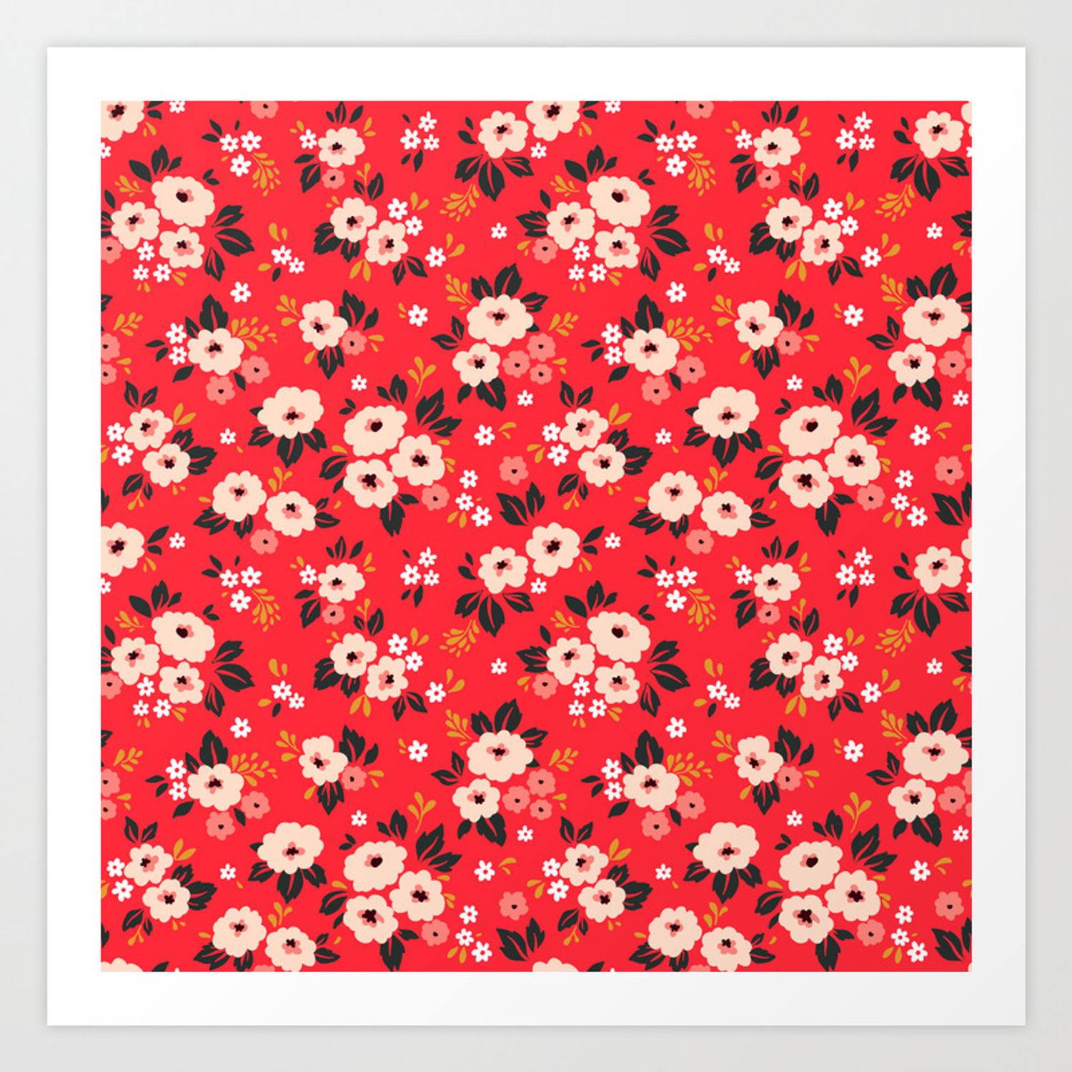 05 Ditsy Floral Pattern Red Background White And Pink Flowers