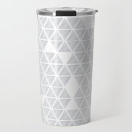 Marble triangles on white Travel Mug