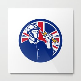 British Power Lineman Union Jack Flag Icon Metal Print