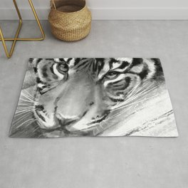 Tiger - Black and White Rug