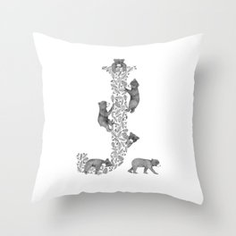 Bearfabet Letter J Throw Pillow