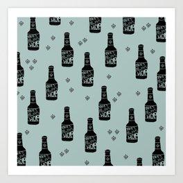 There's always hope beer bottle hop love ocean green Art Print