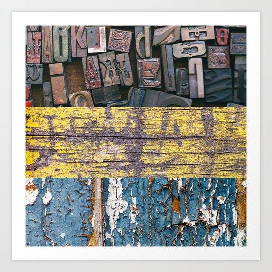 patchwork 5 wood Art Print