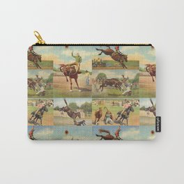 Vintage Western Rodeo Cowboys Bull Riding Bronc Riding Steer Wrestling Carry-All Pouch