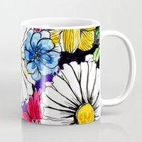 daisies Mugs featuring daisies by Alisa Burke