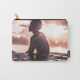 UNRECOGNIZABLE - BLACK - MAN - RELAXING - IN - SEA - WATER - AT - SUNDOWN - PHOTOGRAPHY Carry-All Pouch
