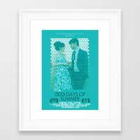 500 days of summer Framed Art Prints featuring (500) Days of Summer by Hector Pahaut