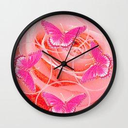 REDDISH PINK ROSES & PURPLE-PINK  BUTTERFLIES MODERN ART Wall Clock