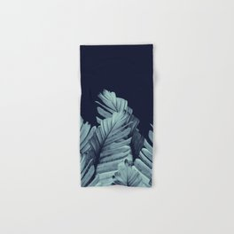 Navy Blue Banana Leaves Dream #1 #tropical #decor #art #society6 Hand & Bath Towel