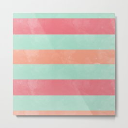 Oui Oui Mon Cheri Throw Pillow with Mint and Pink Stripes Metal Print