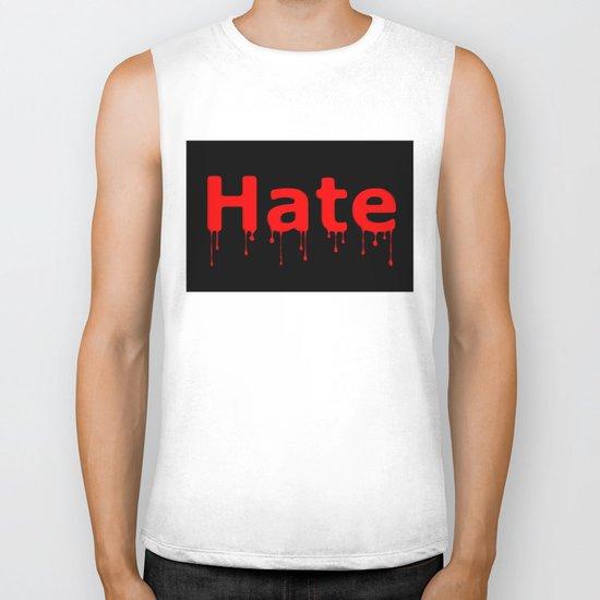 Hate Blood Text Black Biker Tank