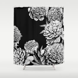 FLOWERS IN BLACK AND WHITE Shower Curtain