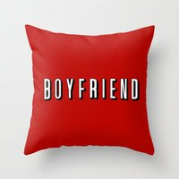 boyfriend Throw Pillows featuring My Boyfriend by Travis Love