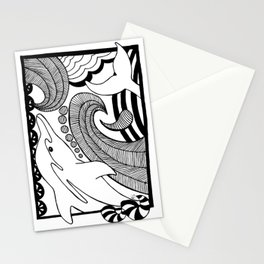 Black and white dolphin drawing Stationery Cards