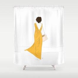 Yellow Dress Fashion Girl Shower Curtain