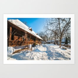 Fairy Tale Winter View at the Village Museum in Bucharest Art Print