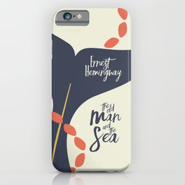 The old Man and the Sea, Ernest Hemingway book cover illustration, adventure novel iPhone Case