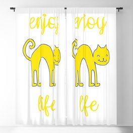 Enjoy life, cat smile, print for happy people Blackout Curtain