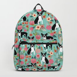 Boston Terrier floral dog breed pet art must have boston terriers gifts Backpack