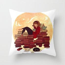 Book Lover Girl Throw Pillow