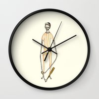 baseball Wall Clocks featuring BASEBALL  by auntikatar