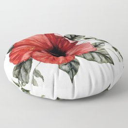 Blooming Red Hibiscus Floor Pillow