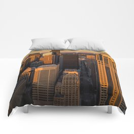 Downtown Seattle Sunset Comforters