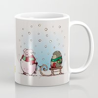 piglet Mugs featuring Winter fun by mangulica illustrations