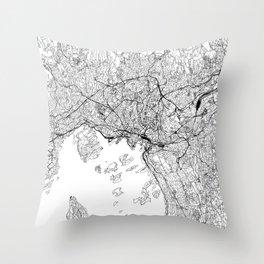 Oslo White Map Throw Pillow
