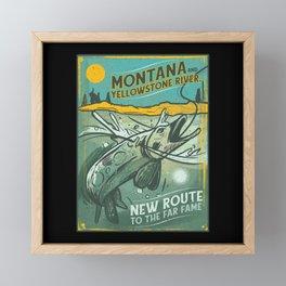 VINTAGE FISHING MONTANA Framed Mini Art Print