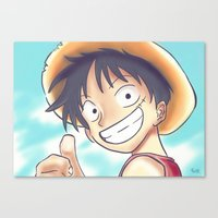 luffy Canvas Prints featuring Monkey D Luffy by Preeti Rajendran