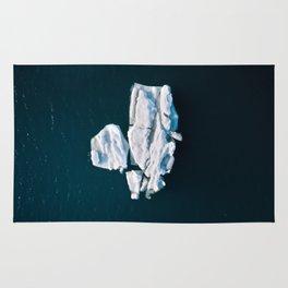 Lone, minimalist Iceberg from above - Landscape Photography Rug